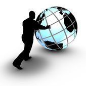 A businessman manages a world wide project by rolling the globe — Stockfoto