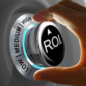 Return of investment (ROI) is the gains compared to the cost — Stock Photo