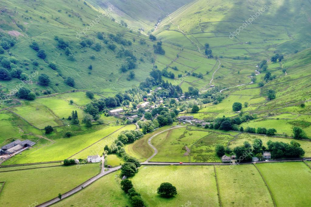 An aerial view of Hartsop, a small picturesque village in the English Lake District — Stock Photo #12718657