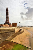 Blackpool Tower viewed from the seafront. — Stock Photo