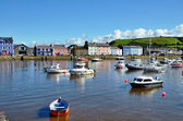 Boats moored in Aberaeron harbour, Wales. — Stock Photo