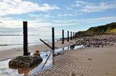 Playa de arena con una línea de mensajes. — Foto de Stock