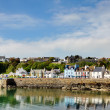 Painted houses lining Portpatrick harbour — Stock Photo