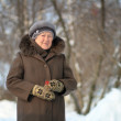 Winter portrait of the old woman — Stock Photo