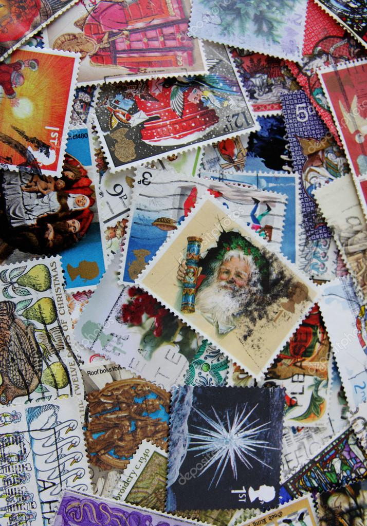Christmas UK stamps background  — Stock Photo #13194488