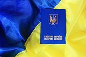 Flag and passport of Ukraine — Stock Photo