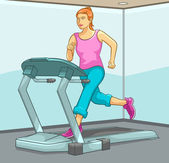 Female Running on Treadmill — Stock Vector