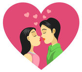 Couple Kissing, Love, Romance — Stock Vector