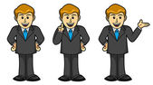 Male Businessman in different poses, Cartoon — Stock Vector