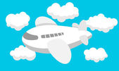 Airplane cartoon, Travel, Clouds — Stockvektor