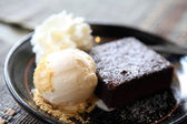 Brownie with icecream — Stock Photo