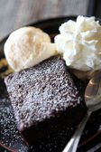 Brownie with icecream — Stock Photo