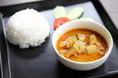 Thai food mussaman curry with rice — Stock Photo