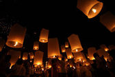 CHIANGMAI, THAILAND - OCTOBER 24 : Thai floating lantern. — Stock Photo