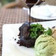 Chocolate Lava Cake with ice cream  — Foto de Stock