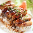 Grilled Chicken teriyaki rice on wood background — Stock Photo