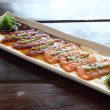 Raw salmon and tuna with japanese sauce - Lizenzfreies Foto