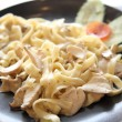 Stock Photo: Fettuccine with chicken and cream