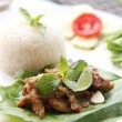 Spicy Barbecued pork with rice — Stock Photo