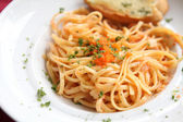 Japanese pasta Mentaiko spaghetti — Stock Photo