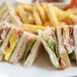 Club sandwich with on wood background — Stock Photo #32007379