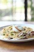 Spaghetti pork and boiled egg in japanese style — Stock Photo