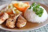 Chicken teriyaki with rice — Stock Photo