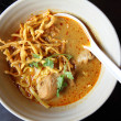 Stock Photo: Noodle Khao soi , Thai food on wood background