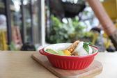 Pancake with icecream — Stock Photo