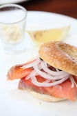 Salmon bagel — Stock Photo