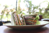 Tuna sandwich on wood background — Photo