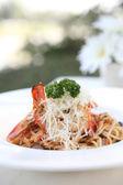 Prawn spaghetti — Stock Photo