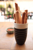 Bread with tomato sauce — Stock Photo