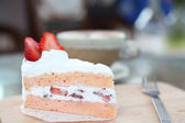 Strawberry Cake on wood  — Stock Photo