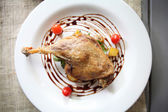 Duck confit , Roasted duck with blueberry sauce — Stock Photo