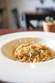 Japanese pasta Mentaiko spaghetti — Fotografia Stock