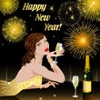 Happy New Year with woman — Stock Vector