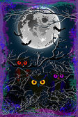 Halloween owl moon background Eps10 — Vector de stock