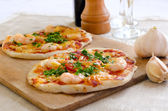 Seafood mini pizza — Stock Photo