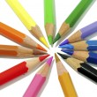 Colouring crayon pencils isolated on white background — Stock Photo