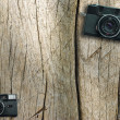 Vintage photo camera on a wooden table — Stock Photo