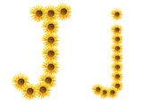 Font flower J — Stock Photo
