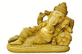Golden Hindu God Ganesh over a white background — Stock Photo
