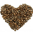 Stock Photo: Coffee beans heart on white background