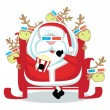 Santa with reindeers in 3d glasses watching  movie — Stock Vector