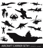Military silhouettes — Stock Vector