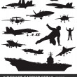 Stock Vector: Naval aviation silhouettes