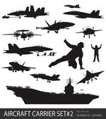 Naval aviation silhouettes — Stock Vector