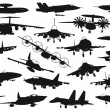 Stock Vector: Military aircrafts set