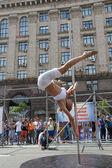 Pole dance woman — Stock Photo